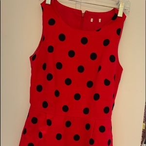Red / Navy polka dot dress